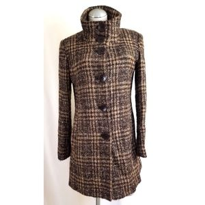 VIA SPIGA Size 6 Brown Coat Mohair Blend